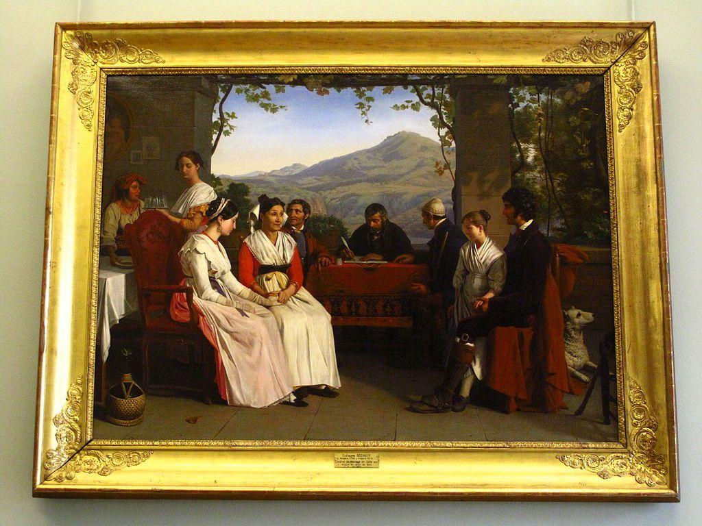 """""""Contrat de mariage en Italie"""", par Guillaume Bodinier (1795-1872)"""