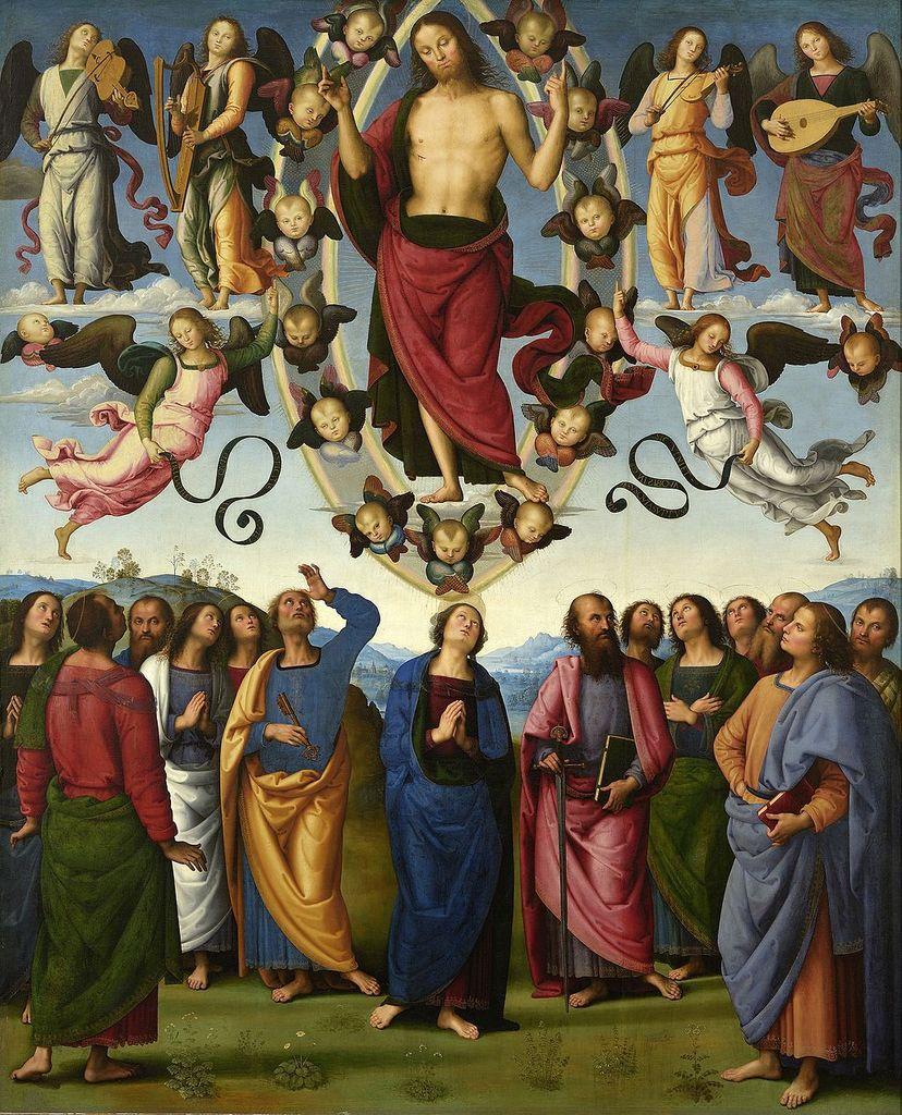 """""""L'Ascension du Christ en présence de la Vierge et des apôtres"""", par Le Pérugin (1496-1500), Musée des Beaux-Arts de Lyon (Photo Wikimedia commons)"""