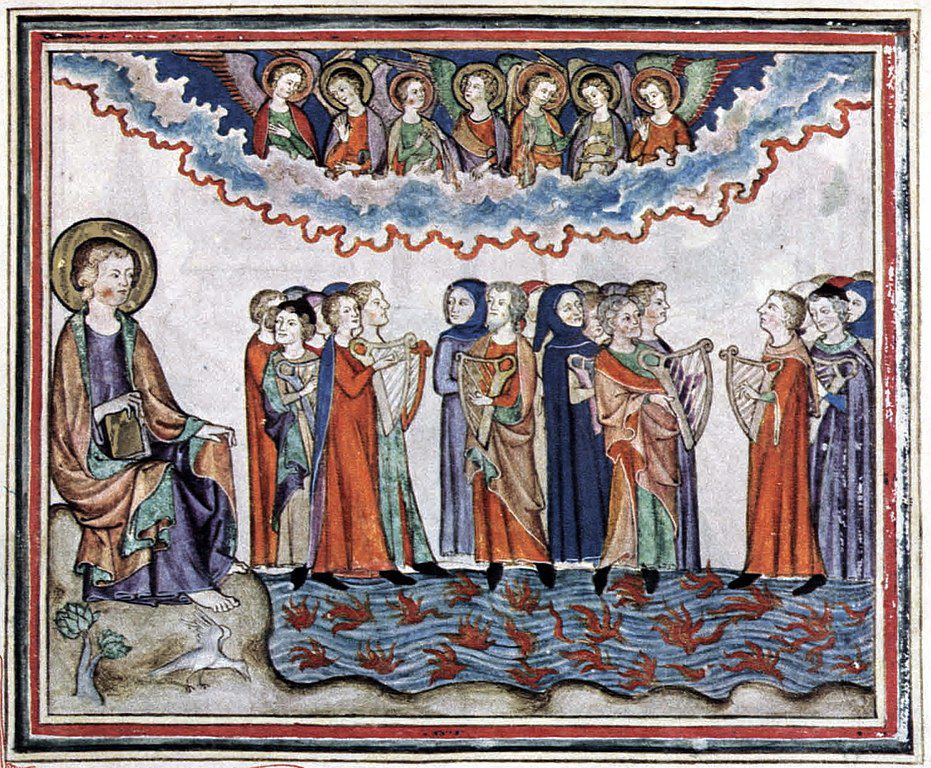 """Plague Angels and the harpers"", ""The cloisters Apocalypse"", Manuscrit du 14° s. (Photo Wikimedia commons)"