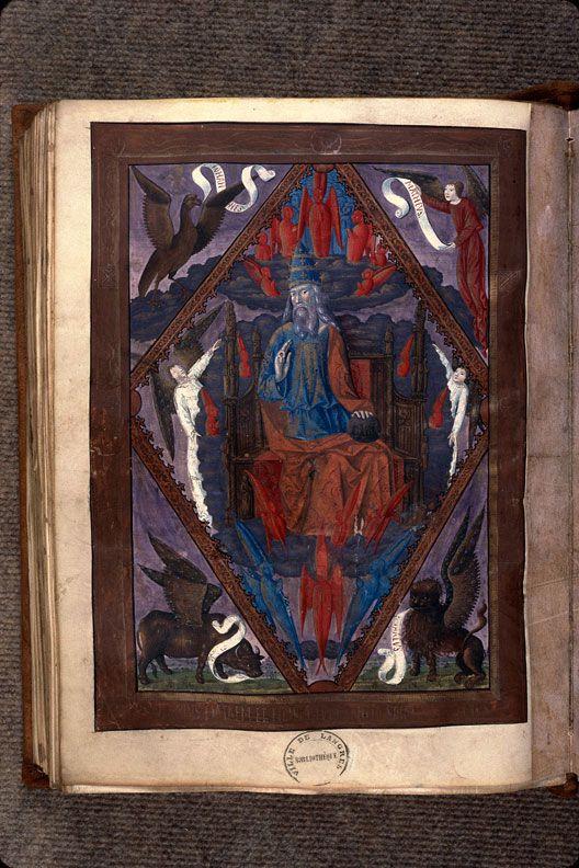 Dieu en majesté entouré du tétramorphe, Missel à l'usage de Langres (15° s.) (Photo Wikimedia commons)