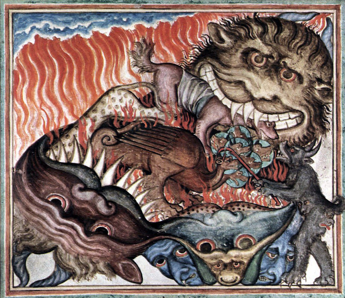 "Monstre de l'Apocalypse. ""The cloisters Apocalypse"", Manuscrit du 14° s. (Photo Wikimedia commons)"