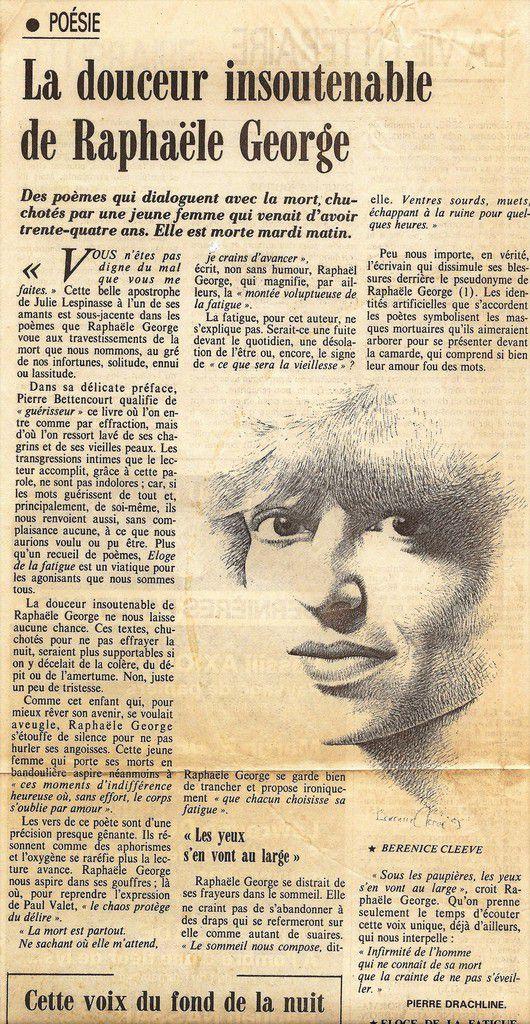 """Le Monde Littéraire - 2 mai 1985 - article de Pierre Drachline sur """"L'Éloge de la fatigue"""" précédé des """" Nuits échangées"""""""