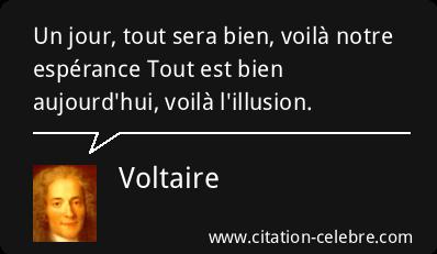 """"""" Un jour, tout sera bien, voilà notre espérance /Tout est bien aujourd'hui, voilà l'illusion."""" (Voltaire)"""