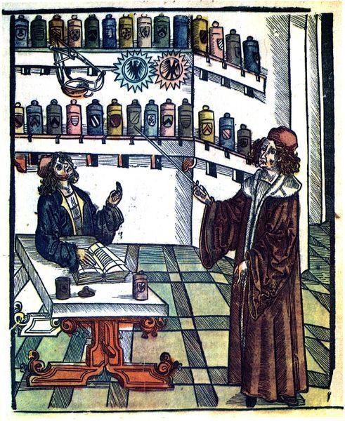 Médecin montrant les bocaux contenant les substances qui doivent servir à l'apothicaire, XVIème siècle, Wikipédia CC.