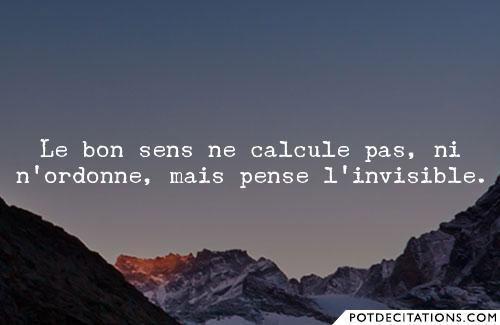 """""""Le bon sens ne calcule pas, ni n'ordonne, mais pense l'invisible."""" (Jean-Luc Marion)"""