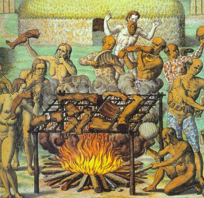 Cannibalisme au Brésil en 1547, par Theodor de Bry, Wikipédia CC.