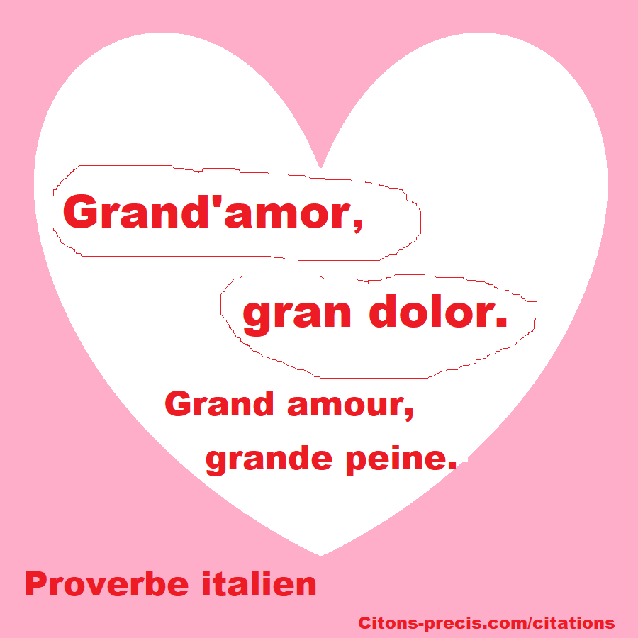 """Grand'amor, gran dolor.""/ ""Grand amour, grande peine."""