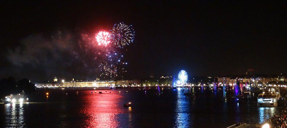 Le feu d'artifice pour l'arrivée du Belem et des voiliers...