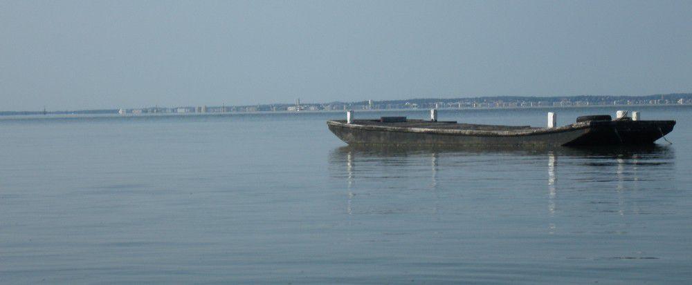 Le port ostréïcole et une plate en bois utilisée autrefois par les ostréïculteurs pour transporter huîtres et matériel jusqu'aux parcs...