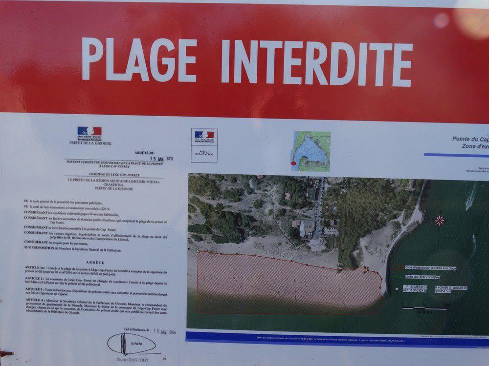 Janvier 2016 - La plage de La Pointe au Cap-Ferret est fermée...