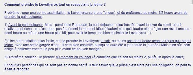 Ramadan : Comment prendre la Lévothyroxine ?