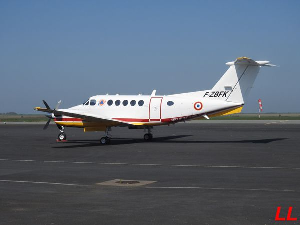 Le Beech King Air 200 F-ZBFK de la Sécurité Civile.