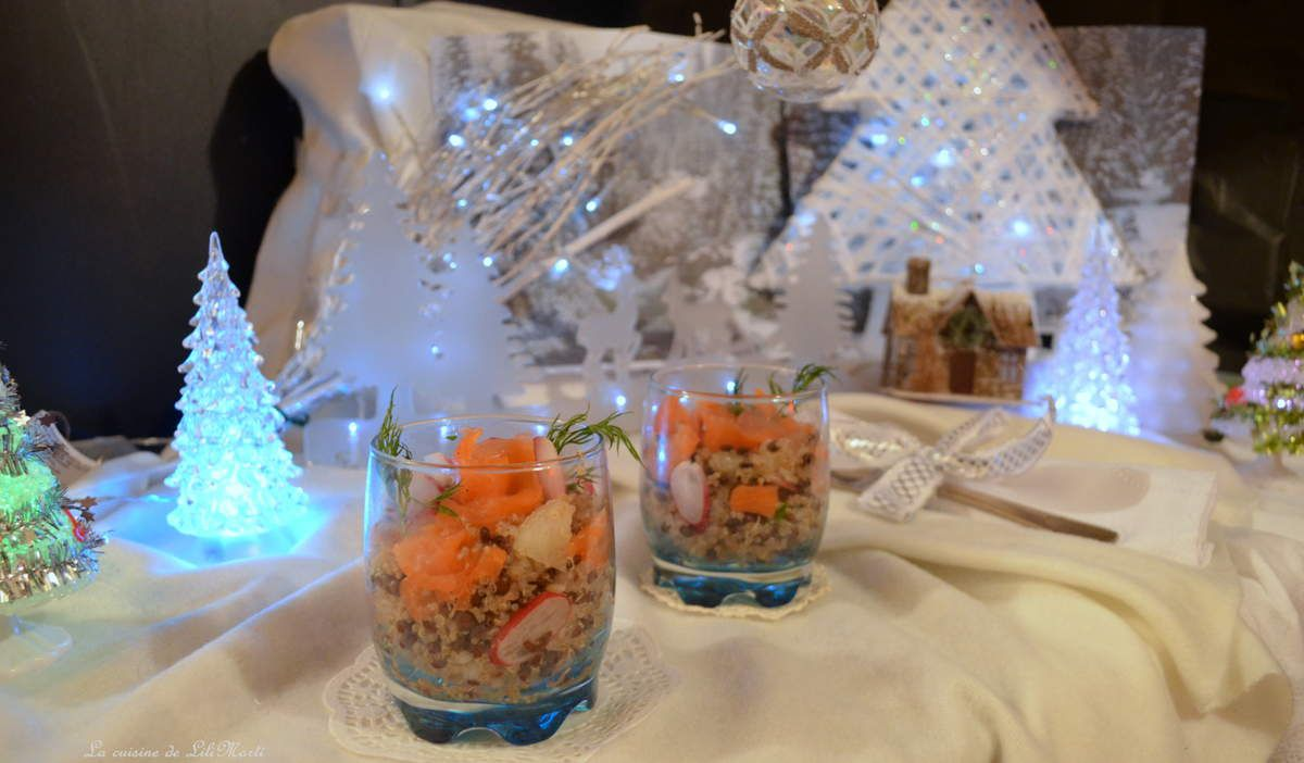 Effilochée de saumon fumé au quinoa et lentilles