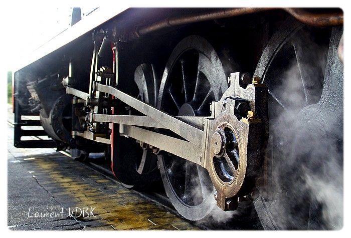 Détail locomotive à vapeur