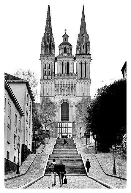 Angers, la cathédrale Saint Maurice - Noir et blanc