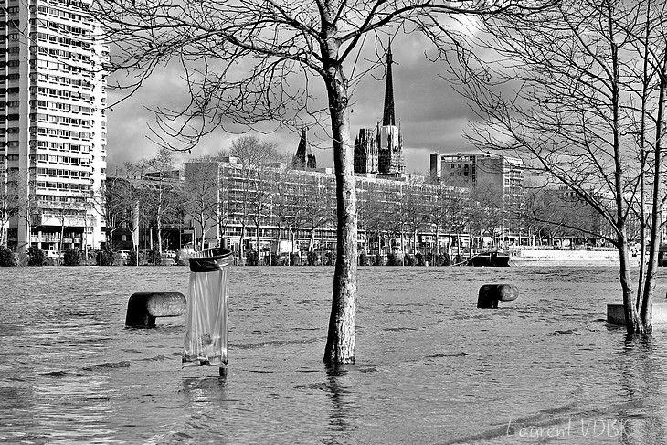 Inondations des quais de Seine à Rouen lors de la crue de février 2018 (noir et blanc)
