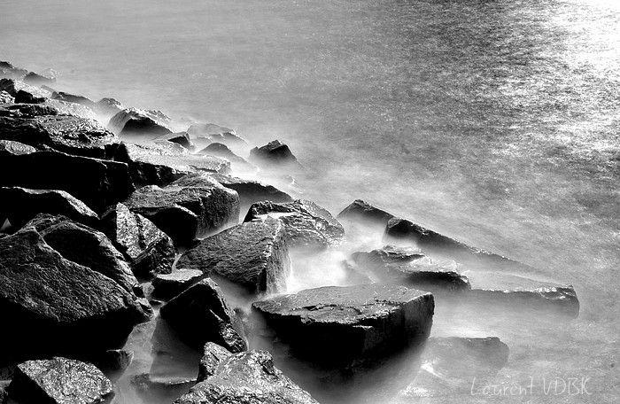Rochers - Pose longue - Noir et blanc