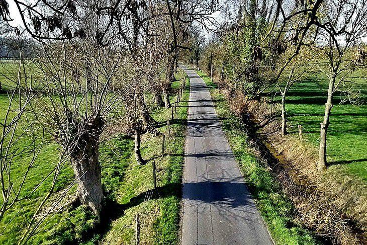"""Route de campagne et arbres têtards à Hénouville avec le drone """"Tello"""""""