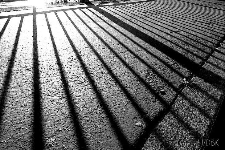 Ombre d'une grille sur le trottoir