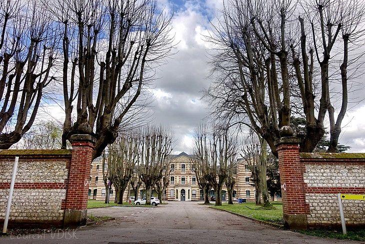 Entrée arrière du centre hospitalier du Rouvray à Sotteville-lès-Rouen, bordée de platanes