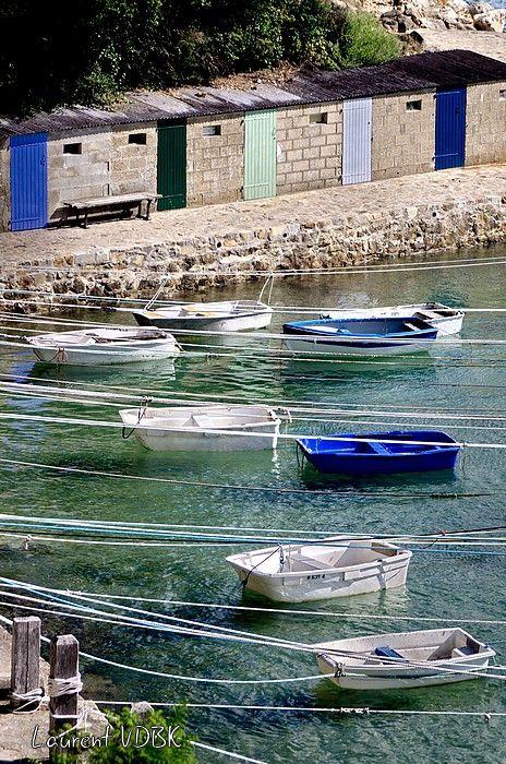 Bateaux bleus et blanc attachés à leur cordages dans le Port Racine