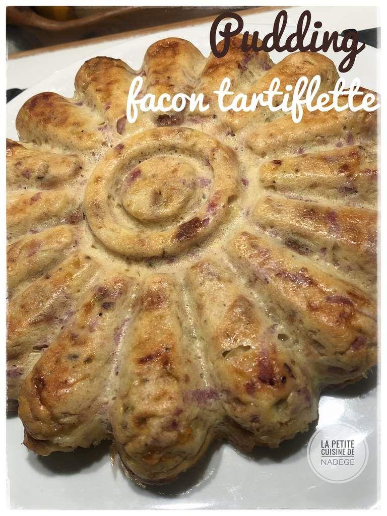 Pudding  façon tartiflette (oignon, bacon, reblochon) : pain perdu salé