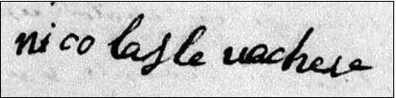 """Signature de Nicolas Levacher """"jeune"""" sur l'acte de baptême de Jean Louis Levacher à Fécamp, le 11 février 1761. (Source :  AD76, 3E 00999, BMS 1760-1769, Fécamp, paroisse Saint-Valéry)"""
