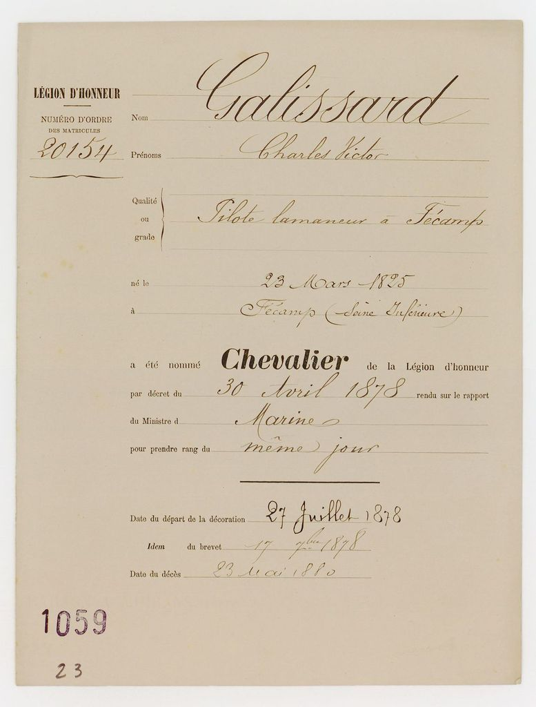 Dossier de Charles Victor GALISSARD - Archives Nationales - LH/1059/23