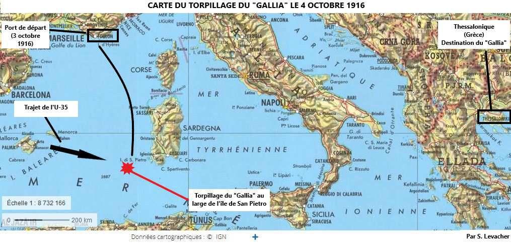 Carte du torpillage du Gallia le 4 octobre 1916, carte réalisée par Simon Levacher (source : Géoportail, fond de carte IGN récent).