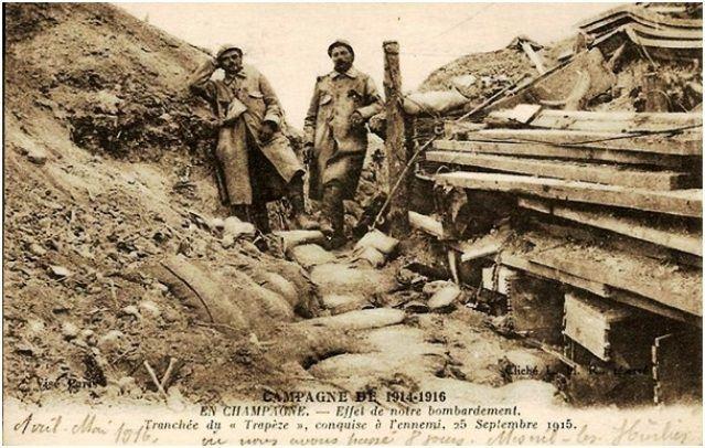 La tranchée du Trapèze sur la ferme Beauséjour prise aux Allemands le 25 septembre 1915 (source : Geneanet, postée par Jean-Paul Rolland)).
