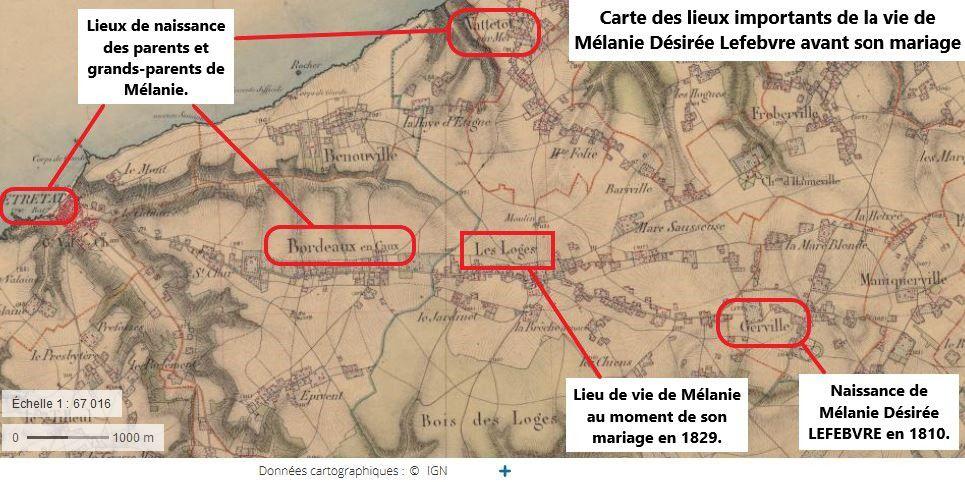 Lieux importants de la vie de Mélanie Désirée Lefebvre (réalisée d'après Geoportail, 15.12.2018 par S. Levacher)