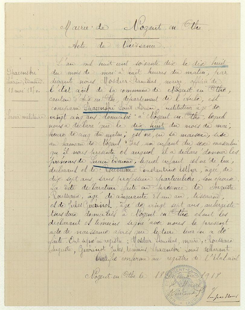 AN - LH/2541/29, dossier individuel de Lucien Edmond Spacenski.