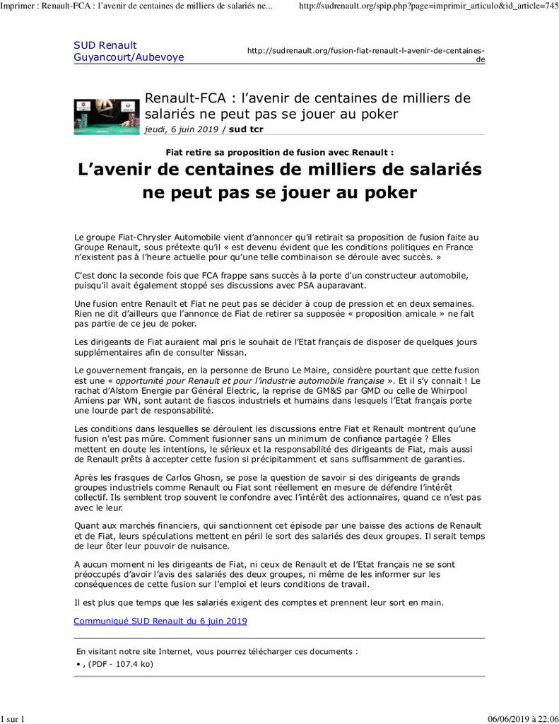 Fiat - Renault : prises de position syndicales