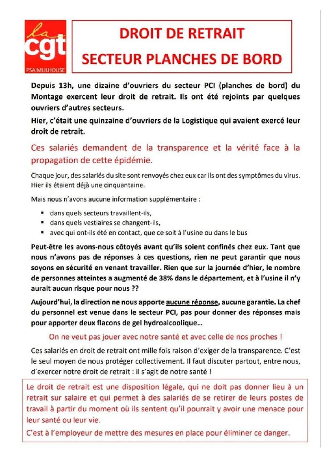 PSA Mulhouse : droit au retrait