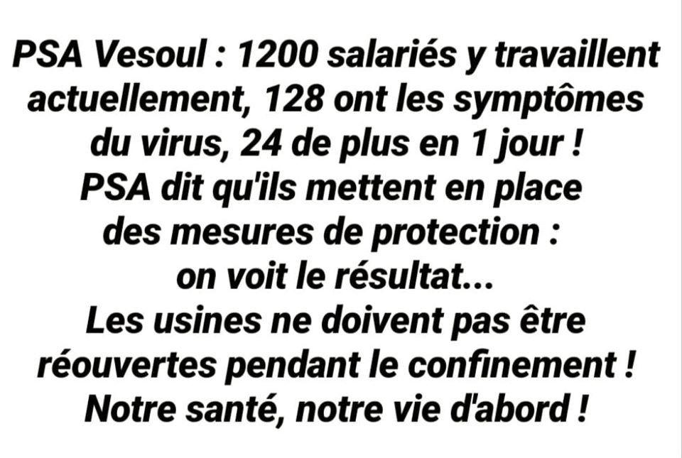 L'usine PSA à Vesoul : 10% de l'effectif présente des symptômes de covid-19PSA