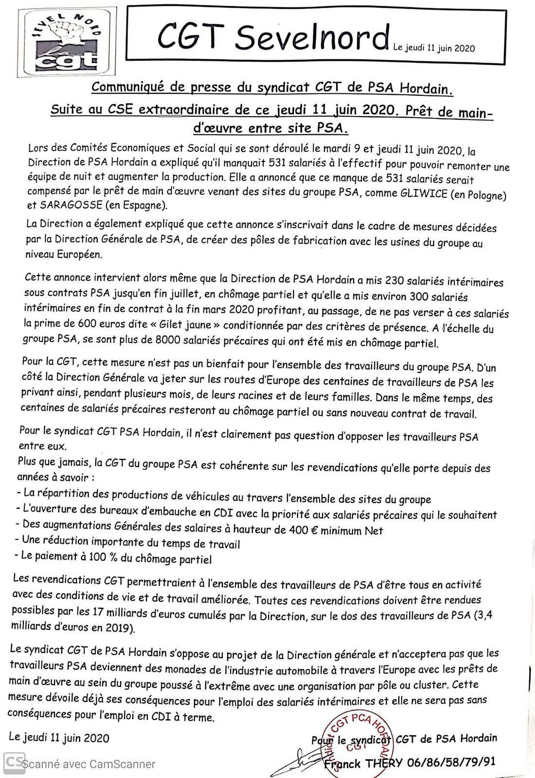 Vu sur la page facebook du syndicat CGT PSA Sevelnord Hordain