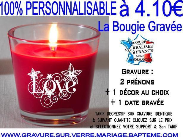 Top Bougie personnalisée & gravée Mariage-Bougie personnalisée Saint  SA71
