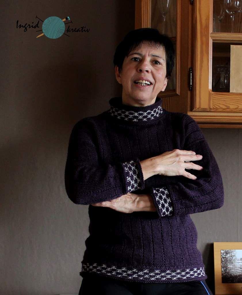 Pullover mit Jacquardbündchen und gerade eingesetzten Ärmeln