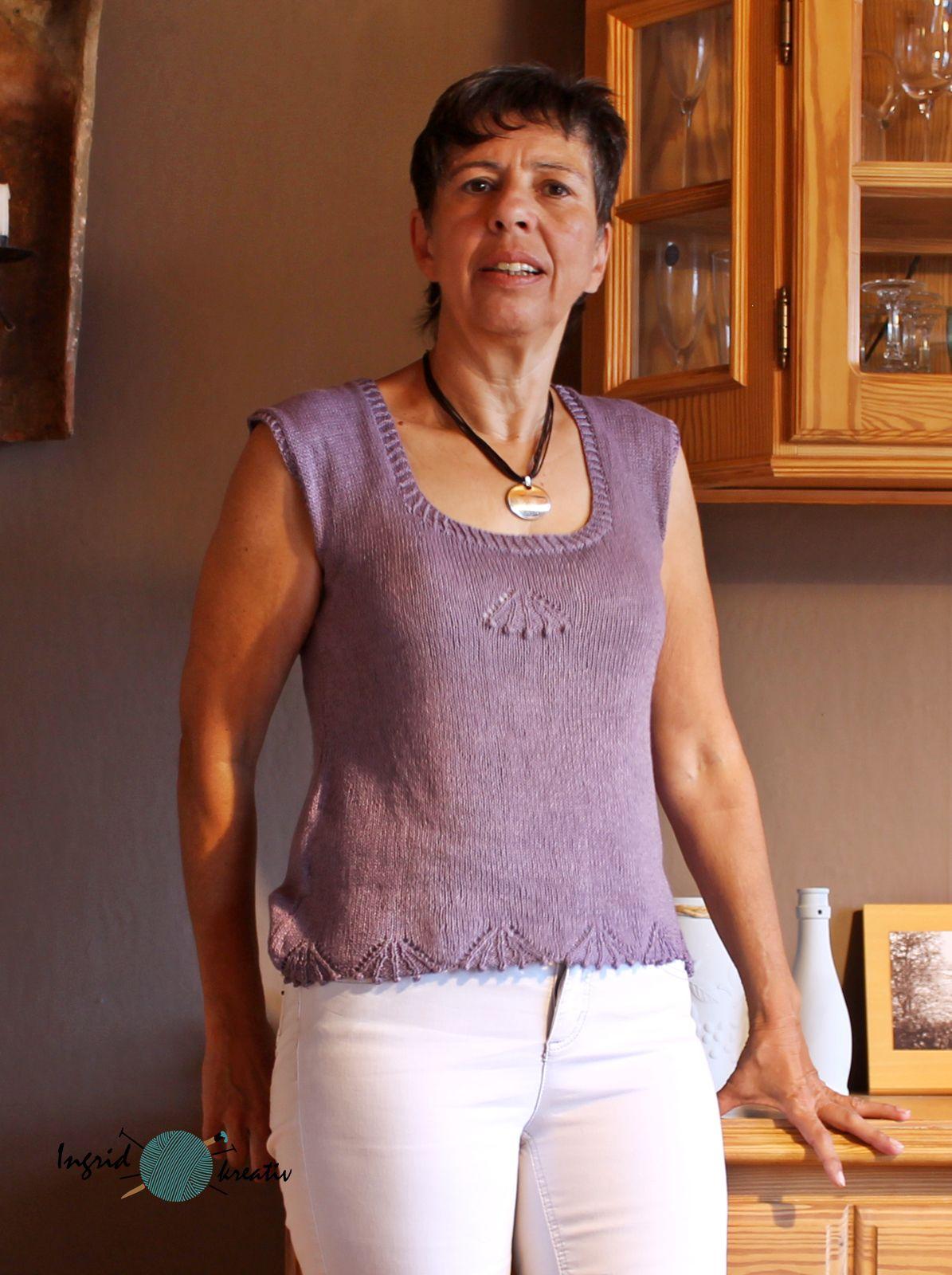 Sommertop shirt sandnes tynn line Kirschenbüschelmuster