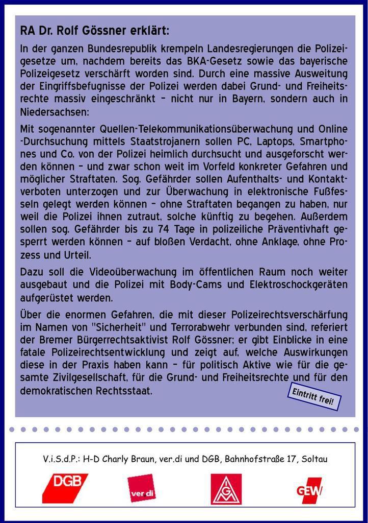 """Veranstaltung: """"Auf dem Weg in den Präventivautoritären Sicherheitsstaat"""" 8.11.2018 18:30 Uhr im ver.di-Bildungszentrum Walsrode"""