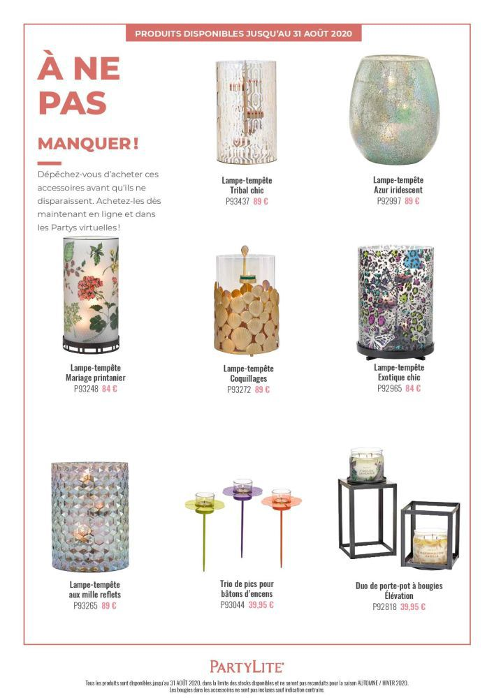 Produits non reconduits à la collection PartyLite Automne 2020