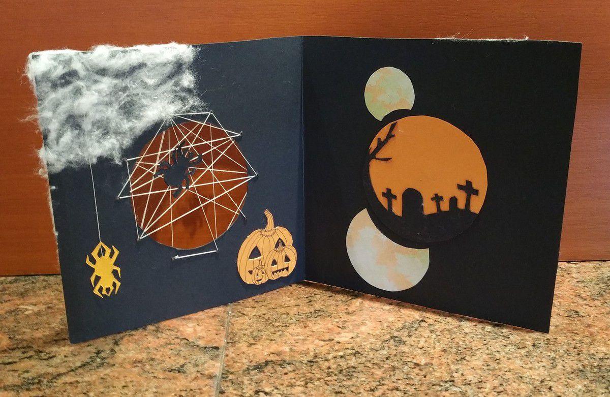 Carte - Halloween - 2015 - Tutoriel - Fait Main - Fait Maison - Scrapbooking - Araignée - Toile - Cimetière - Cercle - Coton - Fil - Citrouille