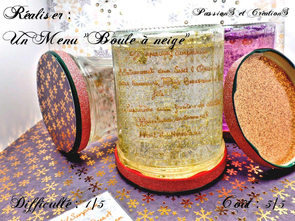 Menu - 2016 - Noël - Bocaux - Pots à confiture - Paillettes - Eau - Boule à Neige - Scrap - Flocons - Masking Tape