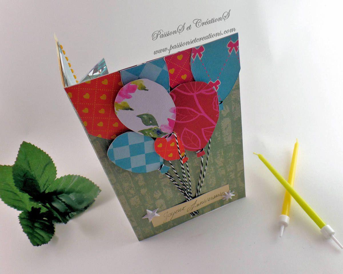 Carte - Carte cadeaux - Anniversaire - 2018 - Offrir - Ballons - Ficelle - Fente