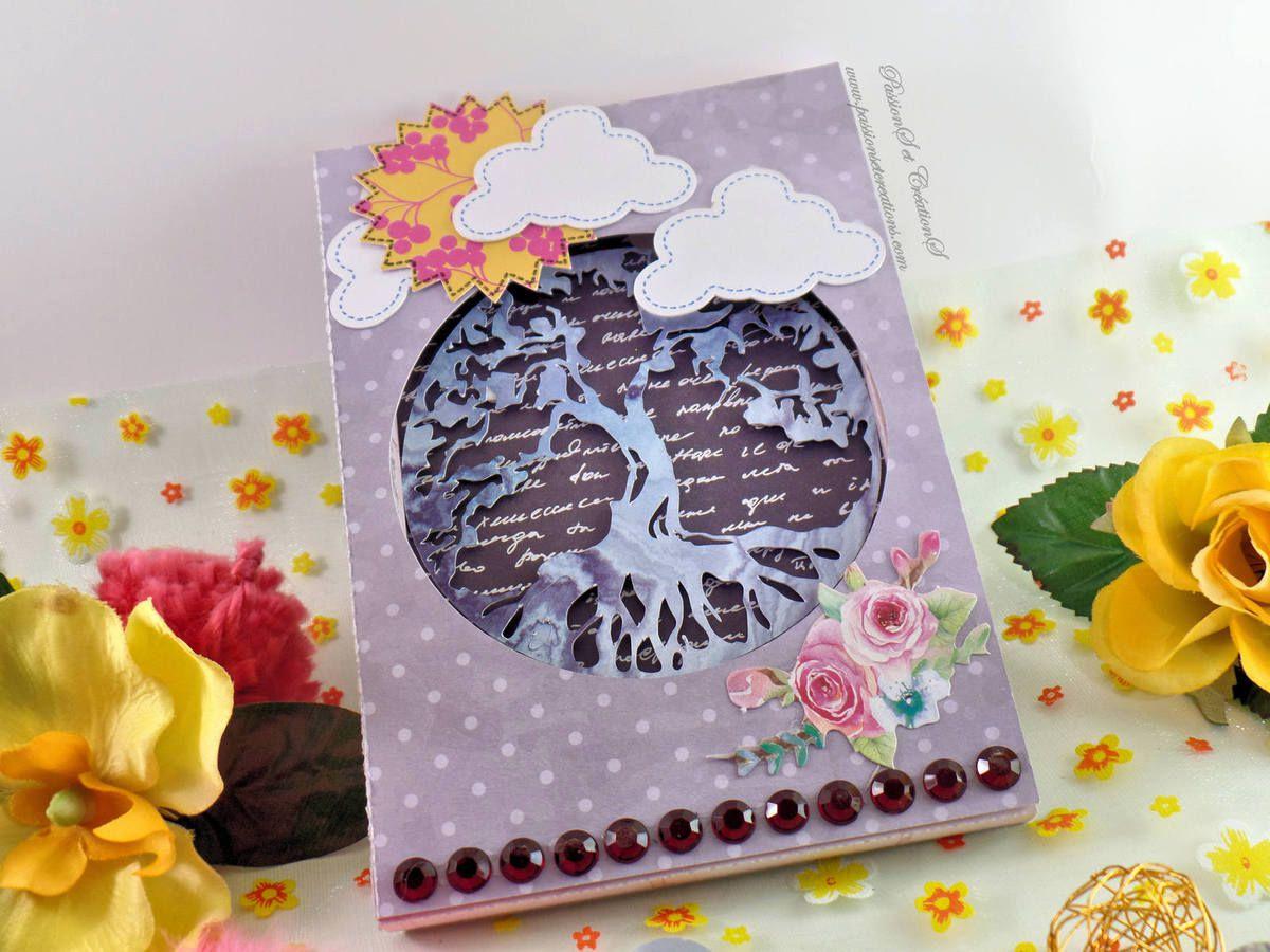 Carte - Scan N Cut - Cm600 - Cadre - Nature - Arbre - Nuage - Strass - Soleil - Printemps