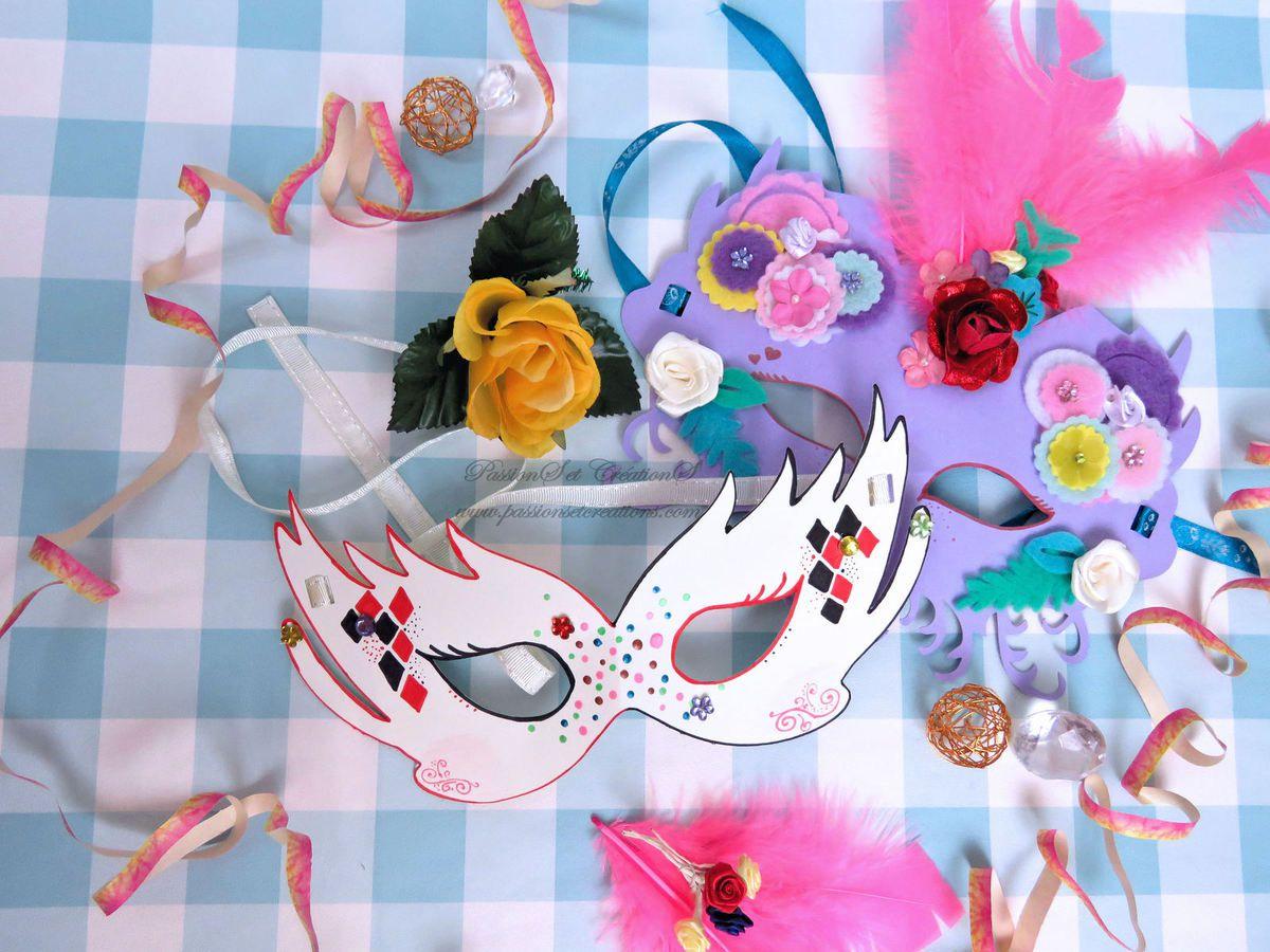 Masques - Carnaval - Décoration - Fait Main - Fait Maison - Scan N Cut - CM600 - 2019 - Arlequin - Plumes - Fleurs
