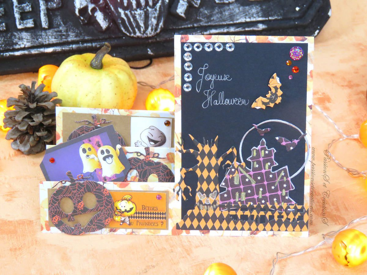 Carte - Faite - Main - Halloween - 2019 - Dies - Machine de découpe - Happy Cut - Artemio - Maison hantée - Cirtouilles