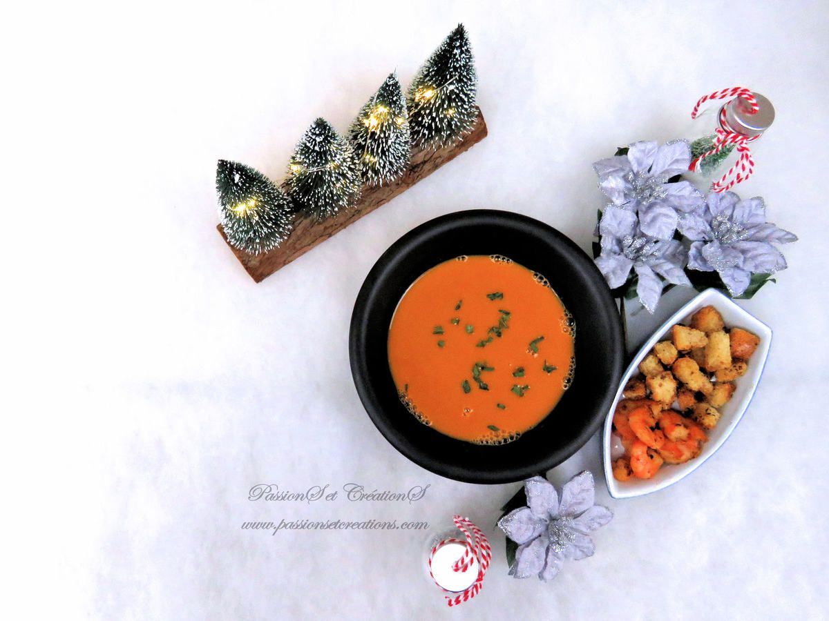 Bisque - Crevettes - Croutons - Ail - Herbes - Recette - Repas - Cuisine - Noël - 2019