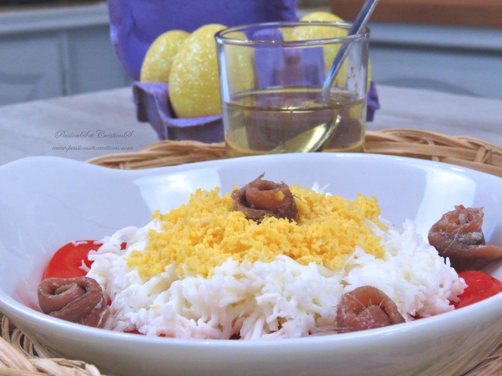 Recette - Cuisine - 2020 - Pâques - Oeufs - Mimosa - Anchois - Tomate - Vinaigrette - Entrée - Repas