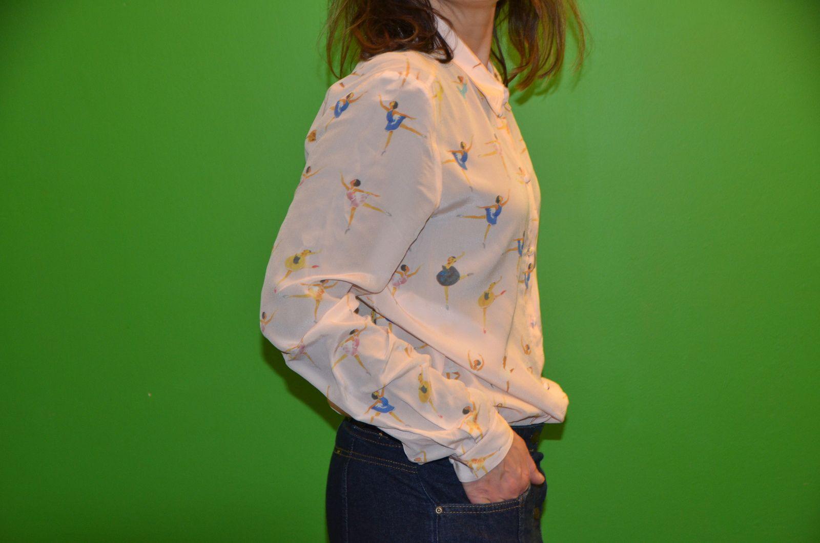Gilet rose chemisier Sézane en soie danseuses et vente solidaire à Lille